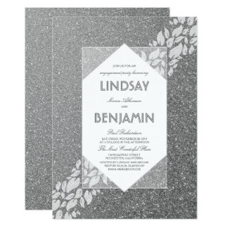 Festa de noivado elegante de prata do vintage do convite 12.7 x 17.78cm