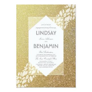 Festa de noivado elegante do vintage do ouro do convite 12.7 x 17.78cm
