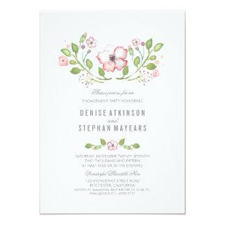 Festa de noivado floral cor-de-rosa da aguarela convite 12.7 x 17.78cm