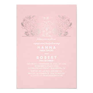 Festa de noivado floral de prata do rosa e do convite 12.7 x 17.78cm