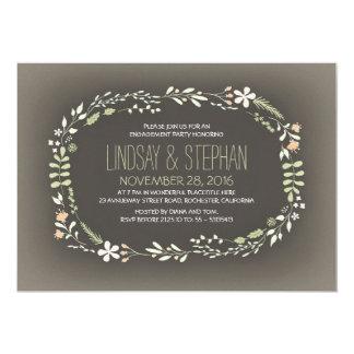 festa de noivado floral romântica do vintage da convite 12.7 x 17.78cm