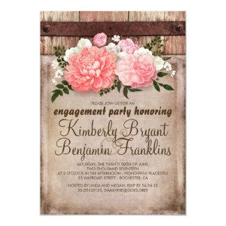Festa de noivado floral rústica da madeira do convite 12.7 x 17.78cm