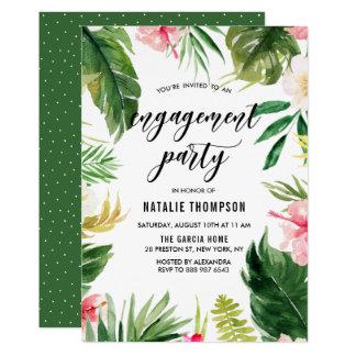 Festa de noivado floral tropical do quadro da convite 12.7 x 17.78cm
