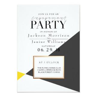 Festa de noivado geométrica corajosa moderna convite 12.7 x 17.78cm