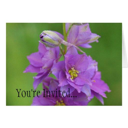 Festa de noivado Invitiation de Larkspur da orquíd Cartoes