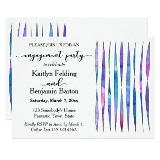 Festa de noivado roxa, cor-de-rosa, azul branca convite 12.7 x 17.78cm