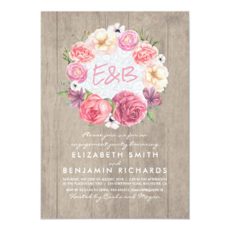Festa de noivado rústica da grinalda floral da convite 12.7 x 17.78cm