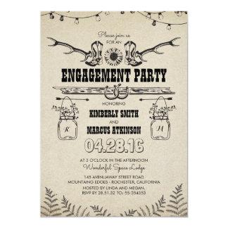 Festa de noivado rústica das botas de vaqueiro do convite 12.7 x 17.78cm