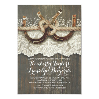 Festa de noivado rústica do casal das ferraduras convite 12.7 x 17.78cm