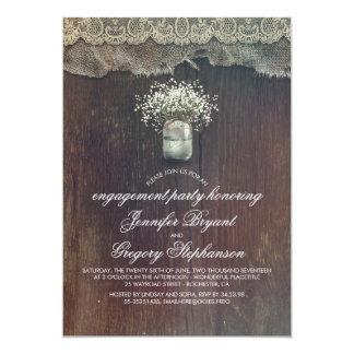 Festa de noivado rústica do frasco de pedreiro da convite 12.7 x 17.78cm