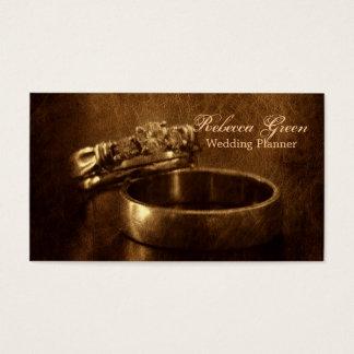 festa de noivado rústica dos anéis de casamento cartão de visitas