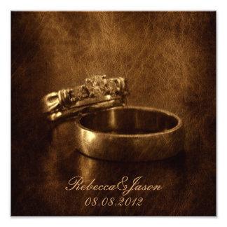 festa de noivado rústica dos anéis de casamento impressão de foto