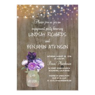 Festa de noivado rústica floral roxa do frasco de convite 12.7 x 17.78cm