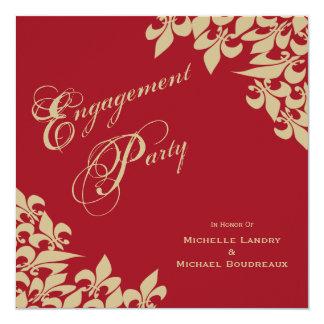 Festa de noivado vermelha da flor de lis do ouro convite quadrado 13.35 x 13.35cm