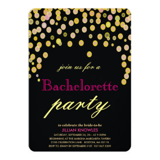 Festa de solteira 2 dos confetes do ouro do falso convite 12.7 x 17.78cm