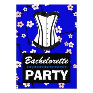 Festa de solteira azul profunda do espartilho da f convites personalizado