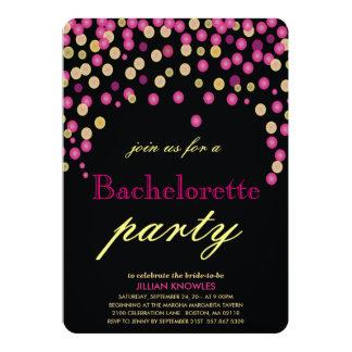 Festa de solteira cor-de-rosa 2 dos confetes do convite 12.7 x 17.78cm