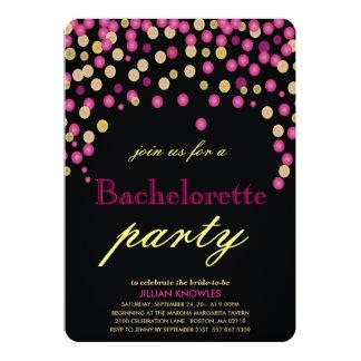 Festa de solteira cor-de-rosa dos confetes do convite 12.7 x 17.78cm
