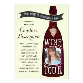 Festa de solteira da foto da excursão | do vinho convite 12.7 x 17.78cm