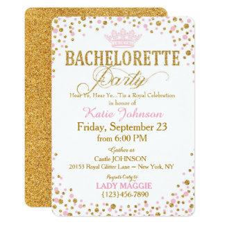 Festa de solteira da princesa Ouro Brilho Convite 12.7 X 17.78cm