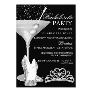 Festa de solteira de prata do cocktail da faísca convite 12.7 x 17.78cm