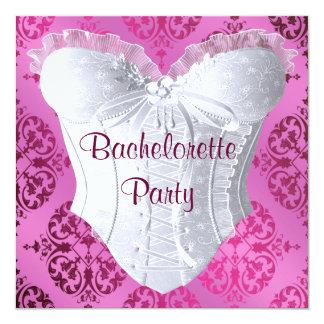 Festa de solteira do espartilho do damasco do rosa convite quadrado 13.35 x 13.35cm