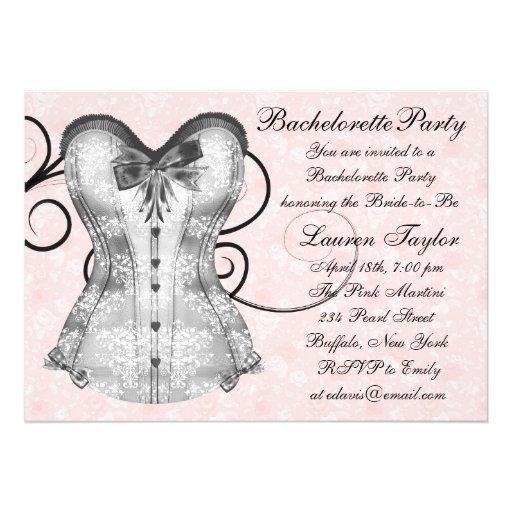 Festa de solteira do preto do rosa do espartilho convite
