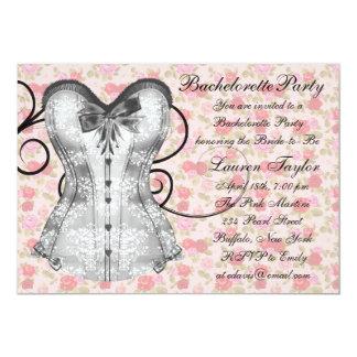 Festa de solteira do preto do rosa do espartilho convite personalizado