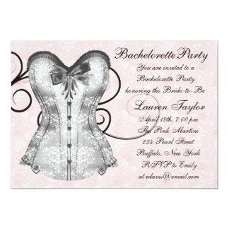 Festa de solteira do preto do rosa do espartilho convite 12.7 x 17.78cm