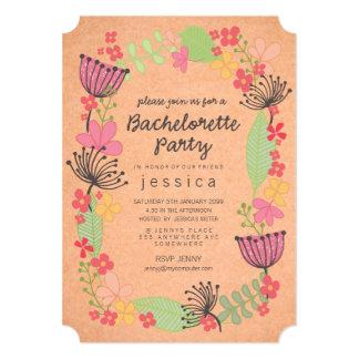 Festa de solteira floral rústica da beira de Kraft Convite 12.7 X 17.78cm
