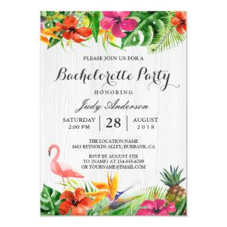 Festa de solteira floral tropical de Luau do Convite 12.7 X 17.78cm