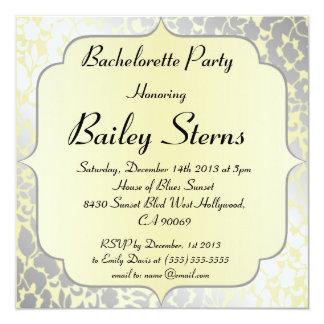 Festa de solteira metálica amarela formal convite quadrado 13.35 x 13.35cm