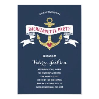 Festa de solteira náutica Glam Convite 12.7 X 17.78cm