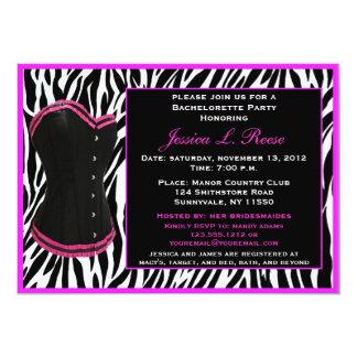 Festa de solteira preta da zebra do espartilho convites personalizados