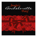 Festa de solteira preta vermelha do laço convite personalizados