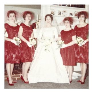 Festa de solteira retro dos anos 60 convite personalizado