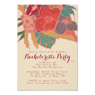 Festa de solteira temático boémia do convite