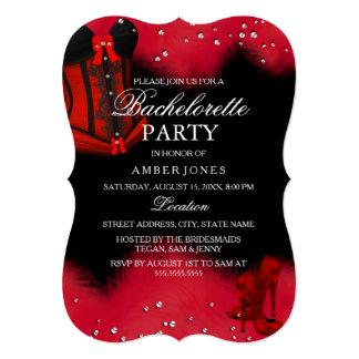 Festa de solteira vermelha do espartilho do laço convite 12.7 x 17.78cm