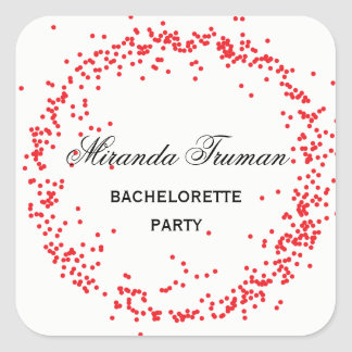 Festa de solteira vermelha dos confetes - etiqueta