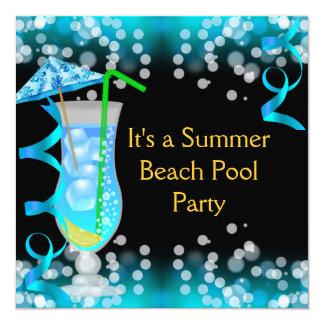 Festa na piscina azul da praia do cocktail do convite quadrado 13.35 x 13.35cm