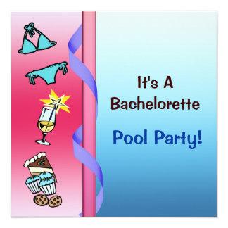 Festa na piscina Bachelorette Convite Quadrado 13.35 X 13.35cm