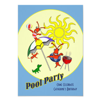 Festa na piscina bonito dos lagostins de Cajun Convite 12.7 X 17.78cm