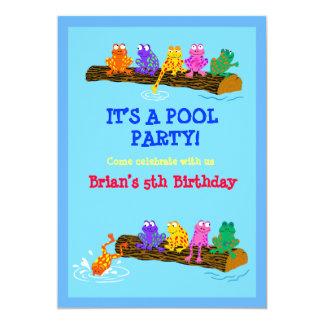 Festa na piscina! convite 12.7 x 17.78cm