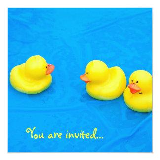 Festa na piscina convite quadrado 13.35 x 13.35cm