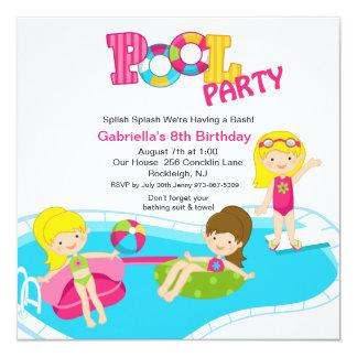 Festa na piscina cor-de-rosa todo o convite do