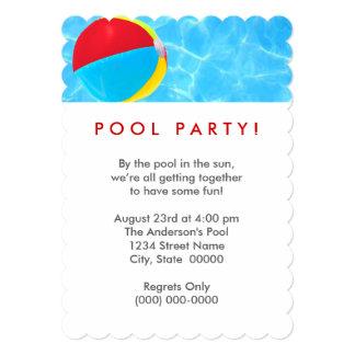 Festa na piscina da bola de praia convite 12.7 x 17.78cm