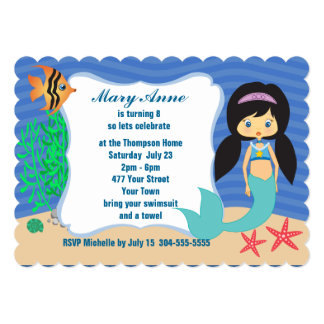 Festa na piscina da sereia convite 12.7 x 17.78cm
