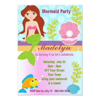Festa na piscina da sereia da pérola convite personalizados