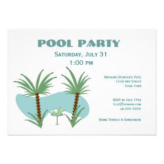 Festa na piscina do Birdbath Convite Personalizado