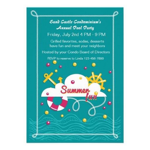 Festa na piscina do divertimento do verão convite personalizado